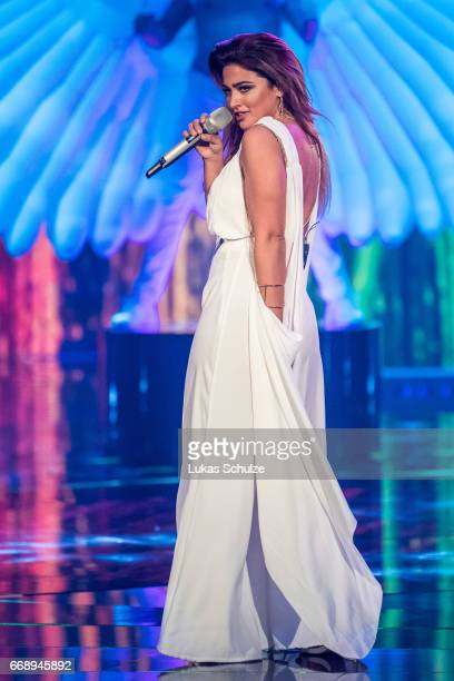 Maria Voskania performs during the second event show of the tv competition 'Deutschland sucht den Superstar' at Coloneum on April 15 2017 in Cologne...