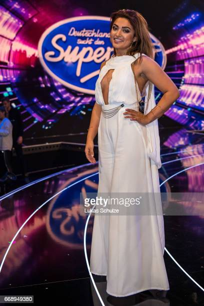 Maria Voskania poses after the second event show of the tv competition 'Deutschland sucht den Superstar' at Coloneum on April 15 2017 in Cologne...