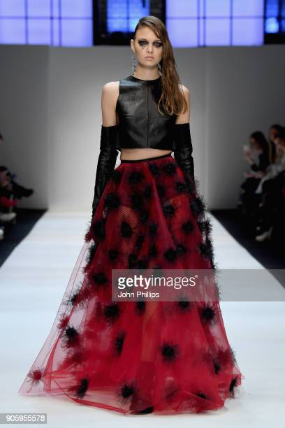 Maria Vvedenskaya walks the runway at the Irene Luft show during the MBFW Berlin January 2018 at ewerk on January 17 2018 in Berlin Germany
