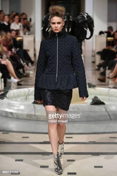 Maria Vvedenskaya walks the runway during the Anja Gockel fashion show at Hotel Adlon on January 16 2018 in Berlin Germany