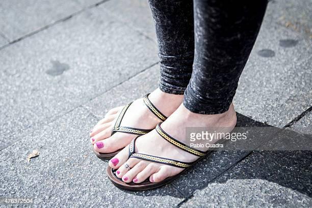 Maria wears HM trousers Springfield tshirt and Blanco handbag on June 8 2015 in Madrid Spain
