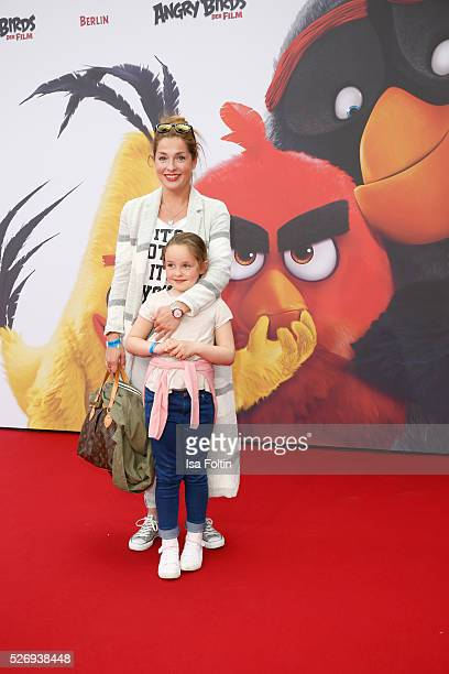 Maria Wedig and her daughter Leni Wedig attend the Berlin premiere of the film 'Angry Birds - Der Film' at CineStar on May 1, 2016 in Berlin, Germany.