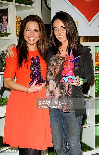 Maria Wedig and Maja Maneiro attend Easter Bunny Charity Auction at Billstedt Shopping Centre on April 3, 2012 in Hamburg, Germany.