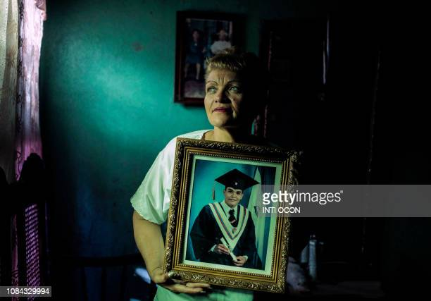 TOPSHOT Maria Yesenia Estrada mother of Byron Correa a member of the April 19 movement who remains imprisoned after taking part in protests against...