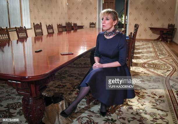 Maria Zakharova the Russian Foreign Ministry's spokeswoman answers questions during an interview with AFP in Moscow on January 16 2018 Donald Trump...