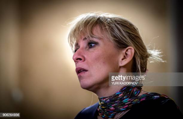 Maria Zakharova the Russian Foreign Ministry's spokeswoman answers questions during an interview with AFP in Moscow on January 16 2018 / AFP PHOTO /...