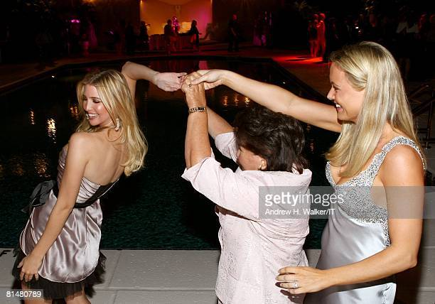 Maria Zelnickoba dances with grand daughter Ivanka Trump and Vanessa Trump during the Drinks Dinner and Disco Party the night before the wedding of...