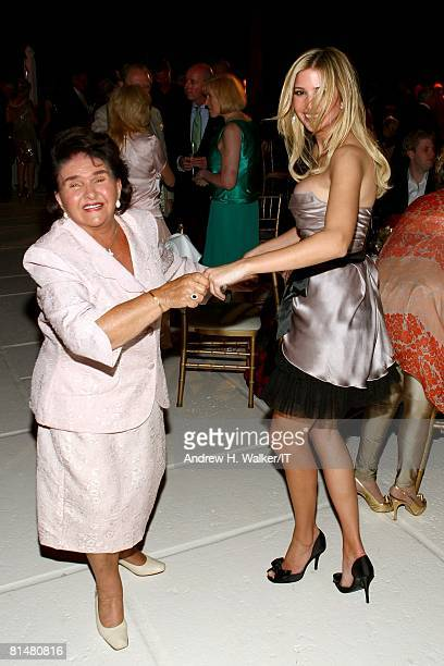 Maria Zelnickoba dances with grand daughter Ivanka Trump during the Drinks Dinner and Disco Party the night before the wedding of Ivana Trump and...