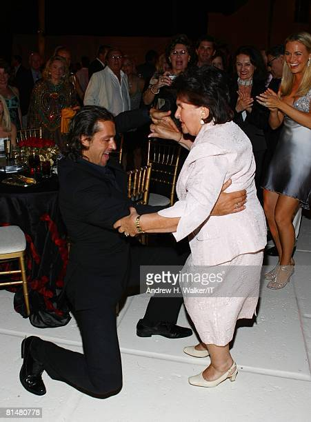 Maria Zelnickoba dances with Rossano Rubicondi during the Drinks Dinner and Disco Party the night before the wedding of Ivana Trump and Rossano...