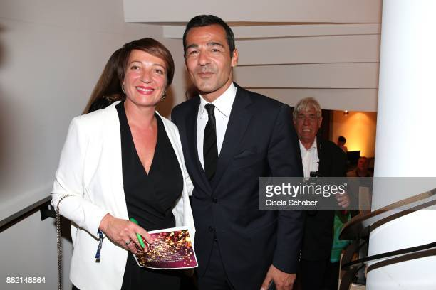 Maria Zsolnay editor TZ and Erol Sander during the 2oth 'Busche Gala' at The Charles Hotel on October 16 2017 in Munich Germany
