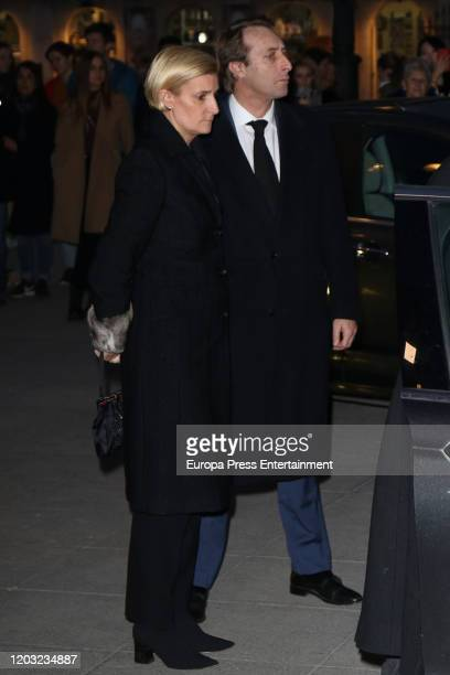 Maria Zurita and Alfonso Zurita are seen arriving at the funeral mass for Pilar De Borbon at Almudena Cathedral on January 31 2020 in Madrid Spain