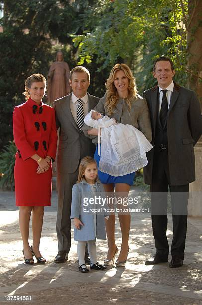 Maria Zurita Juan Manuel Alcaraz Alejandra Prat and Joaquin Prat attend the baptism of Amaro Alcaraz Pratt on January 21 2012 in Barcelona Spain