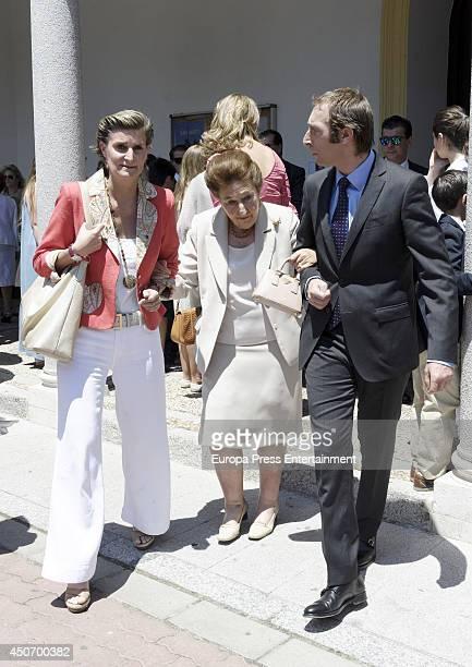 Maria Zurita Princess Margarita and Alfonso Zurita attend First Communion of Bruno Gomez Acebo and Barbara Cano's son on June 14 2014 in Madrid Spain