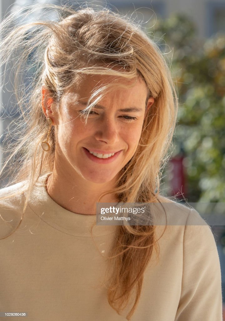 Maria-Anunciata of Liechtenstein arrives prior to attend a mass to remember the 25th anniversary of the death of King Baudouin at Notre Dame Church on September 8, 2018 in Laeken, Belgium.