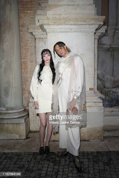 Mariacarla Boscono and Ghali Amdouni, known as Ghali, arrive at the Gucci Cruise 2020 at Musei Capitolini on May 28, 2019 in Rome, Italy.