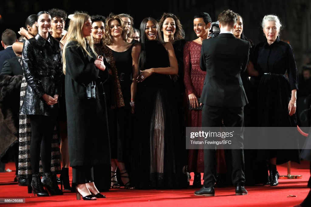 Mariacarla Boscono, Farida Khelfa, Stephanie Seymour, Naomi Campbell, Marpessa Hennink, Nadege du Bospertus, Veronica Webb and Marie Sophie Wilson attend The Fashion Awards 2017 in partnership with Swarovski at Royal Albert Hall on December 4, 2017 in London, England.