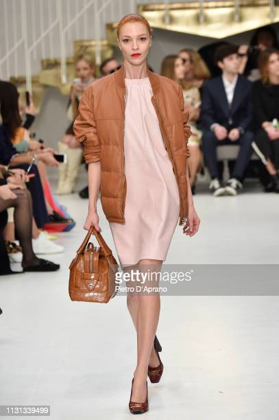 Mariacarla Boscono walks the runway at the Tod's show at Milan Fashion Week Autumn/Winter 2019/20 on February 22 2019 in Milan Italy
