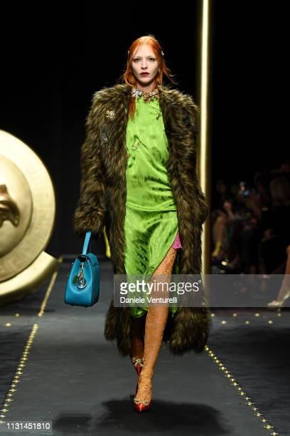 Mariacarla Boscono walks the runway at the Versace show at Milan Fashion Week Autumn/Winter 2019/20 on February 22 2019 in Milan Italy