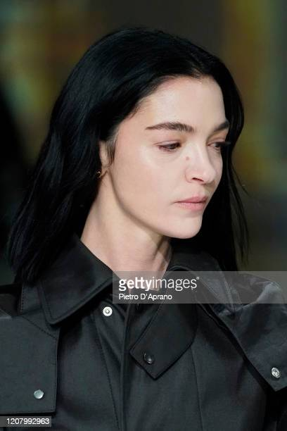 Mariacarla Boscono walks the runway during the Bottega Veneta fashion show as part of Milan Fashion Week Fall/Winter 2020-2021 on February 22, 2020...
