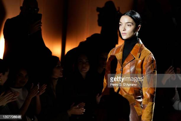Mariacarla Boscono walks the runway during the Tod's fashion show as part of Milan Fashion Week Fall/Winter 2020-2021 on February 21, 2020 in Milan,...