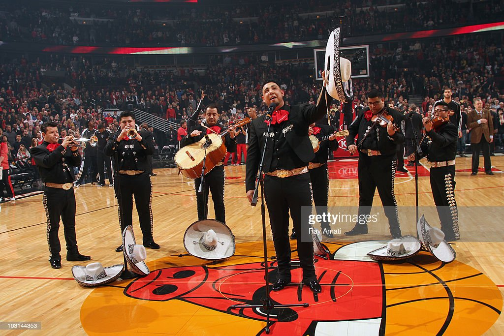 A mariachi band performs before the game where the Chicago Bulls played against the Brooklyn Nets on March 2, 2013 at the United Center in Chicago, Illinois.