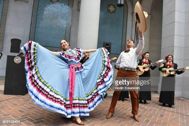 Mariachi Divas as Los Angeles celebrates Disney and Pixar's Coco by declaring February 27 Coco Day at Los Angeles City Hall on February 27 2018 in...