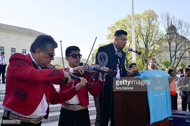 Mariachi Jesus Ramos sings the National Anthem during the Fight For Families Rally in front of the Supreme Court of the United States on April 18...