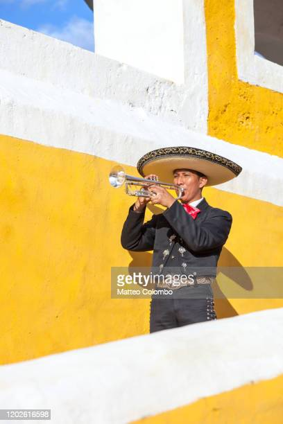 mariachi man playing trumpet, izamal, mexico - mariachi fotografías e imágenes de stock