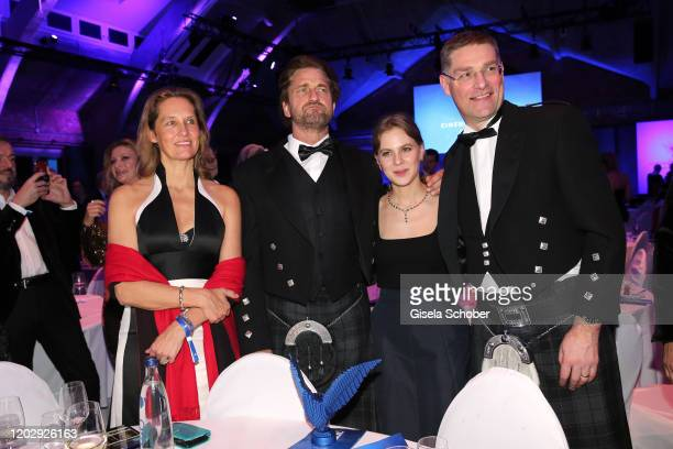 Maria-Christiana von Habsburg, Gerard Butler, Alicia von Rittberg and Magnus MacFarlane Barrow during the Cinema For Peace Gala at Westhafen Event &...