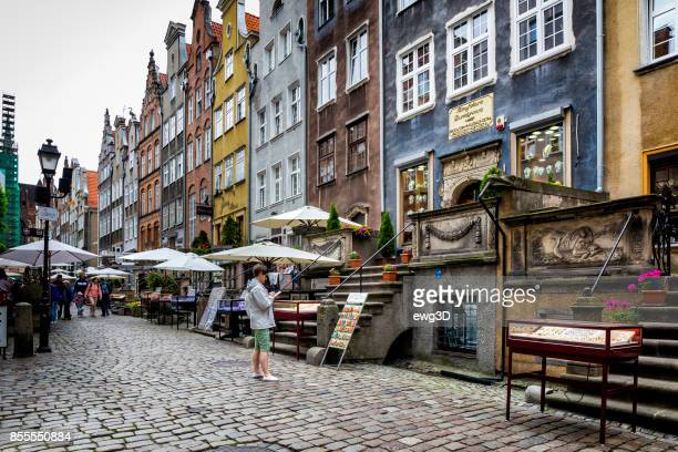 mariacka street in old town, gdansk, poland - gdansk stock pictures, royalty-free photos & images