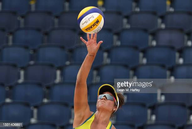 Mariafe Artacho del Solar of Team Australia competes against Team ROC during the Women's Preliminary - Pool E beach volleyball on day seven of the...