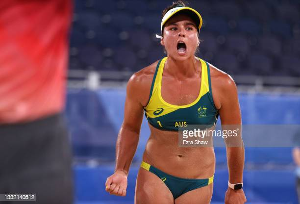 Mariafe Artacho del Solar of Team Australia reacts as she competes against Team Canada during the Women's Quarterfinal beach volleyball on day eleven...