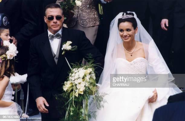 Mariage de Jean-Claude Van Damme et Gladys Portugues à Knokke-Le Zoute le 26 juin 1999, Belgique.