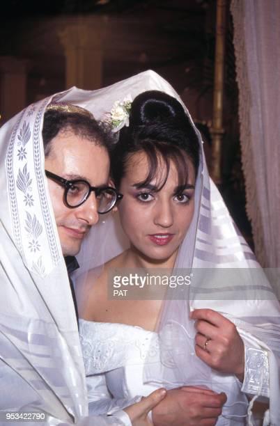 Mariage de Jocya Macias avec Oury Milshtein à la synagogue des Tournelles le 9 février 1992 à Paris, France.