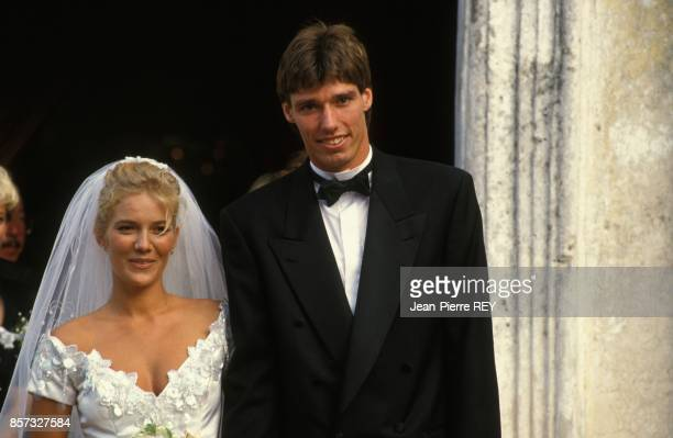 Mariage du champion de tennis Michael Stich et de l'actrice allemande Jessica Stockmann a l'eglise d'Eze le 19 septembre 1992 a Eze France