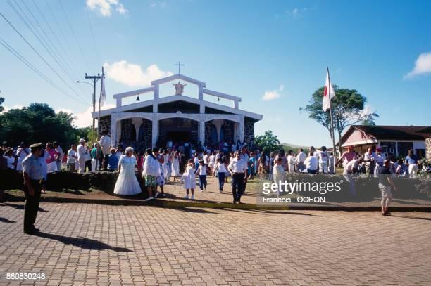 Mariage sur l'Ile de Pâques en avril 1995 Chili