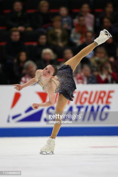 Mariah Bell competes in the Championship Ladies Free Skate during the 2019 US Figure Skating Championships at Little Caesars Arena on January 25 2019...