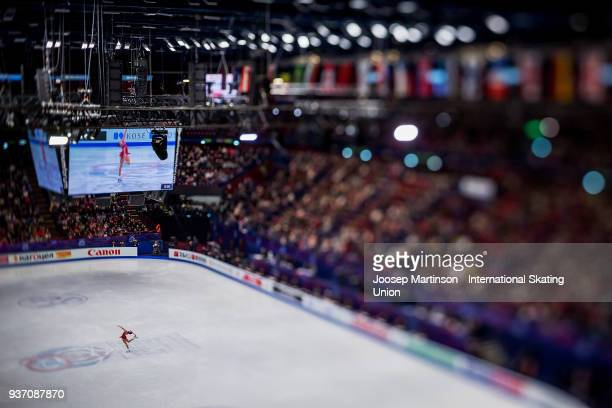 Mariah Bell of the United States competes in the Ladies Free Skating during day three of the World Figure Skating Championships at Mediolanum Forum...