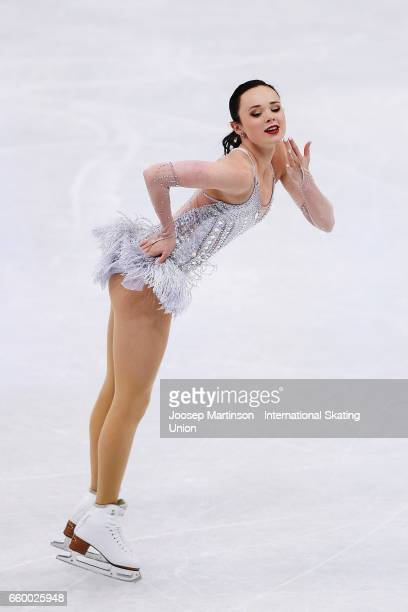 Mariah Bell of the United States competes in the Ladies Short Program during day one of the World Figure Skating Championships at Hartwall Arena on...