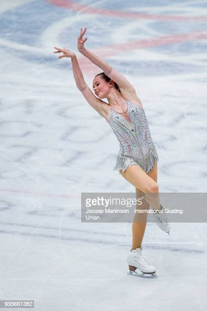 Mariah Bell of the United States competes in the Ladies Short Program during day one of the World Figure Skating Championships at Mediolanum Forum on...