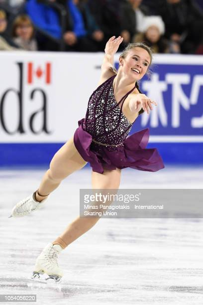 Mariah Bell of the United States competes on day one during the ISU Grand Prix of Figure Skating Skate Canada International at Place Bell on October...