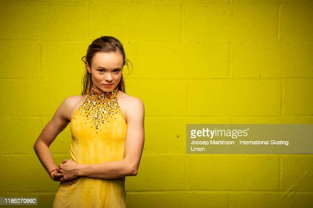 Mariah Bell of the United States poses for a photograph during day 3 of the ISU Grand Prix of Figure Skating Internationaux de France at Polesud Ice...