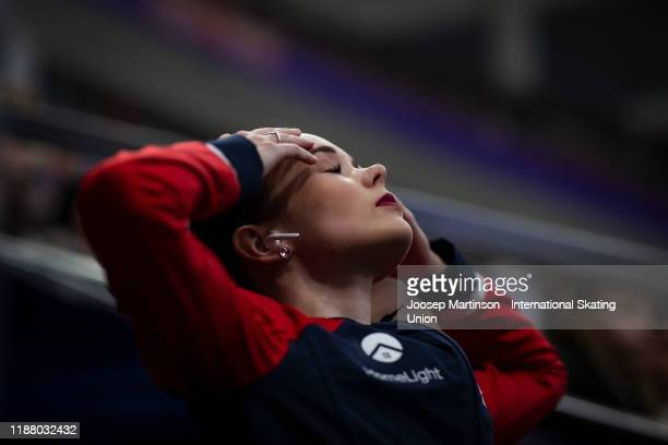 Mariah Bell of the United States prepares in the Ladies Free Skating during day 2 of the ISU Grand Prix of Figure Skating Rostelecom Cup at Megasport...