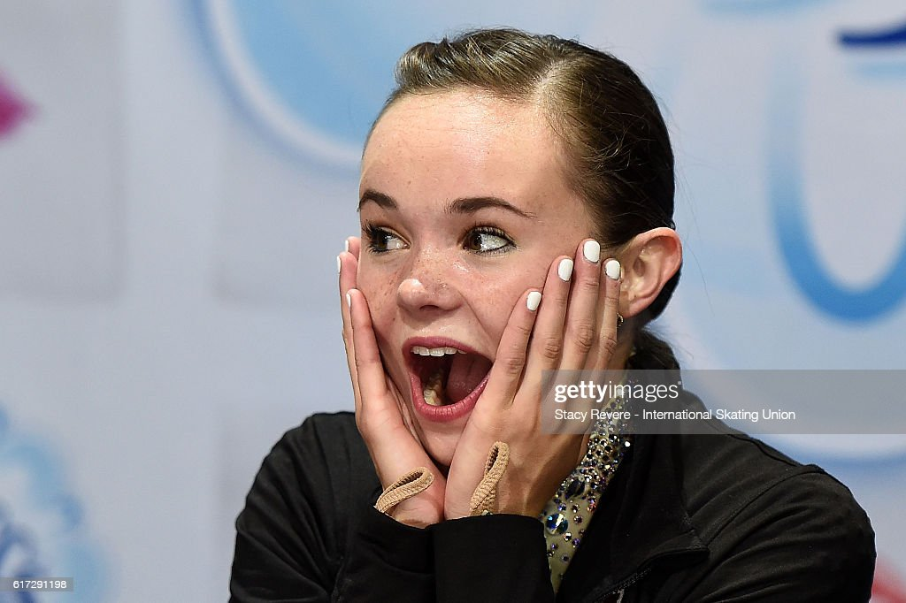 Mariah Bell of the United States reacts upon hearing her score on day 2 of the Grand Prix of Skating at the Sears Centre Arena on October 22, 2016 in Chicago, Illinois.
