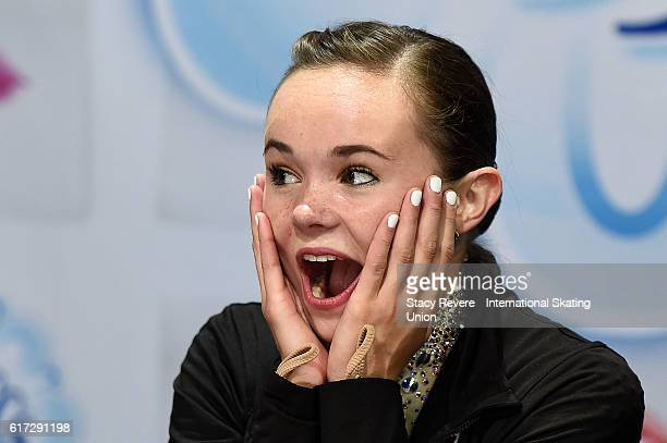 Mariah Bell of the United States reacts upon hearing her score on day 2 of the Grand Prix of Skating at the Sears Centre Arena on October 22 2016 in...