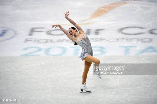 Mariah Bell of the US performs during the ladies short program at the ISU Four Continents Figure Skating Championships in Taipei on January 24 2018 /...