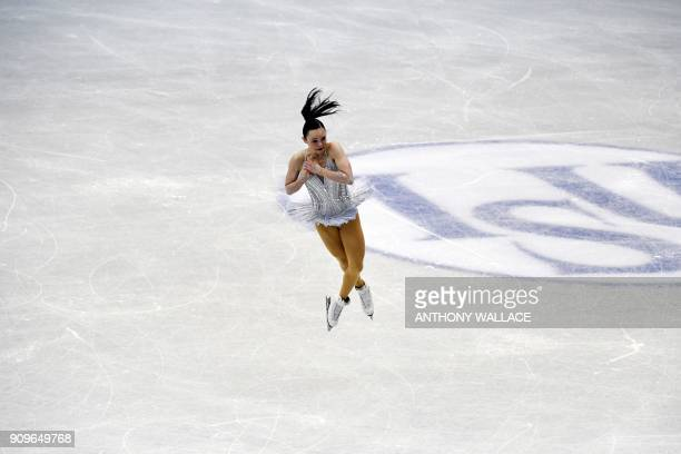 Mariah Bell of the US performs during the ladies short program at the ISU Four Continents Figure Skating Championships in Taipei on January 24, 2018....