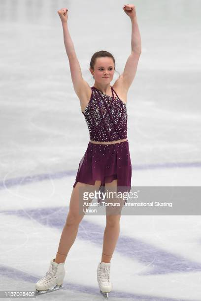 Mariah Bell of the USA competes in the Ladies short program during day 1 of the ISU World Figure Skating Championships 2019 at Saitama Super Arena on...