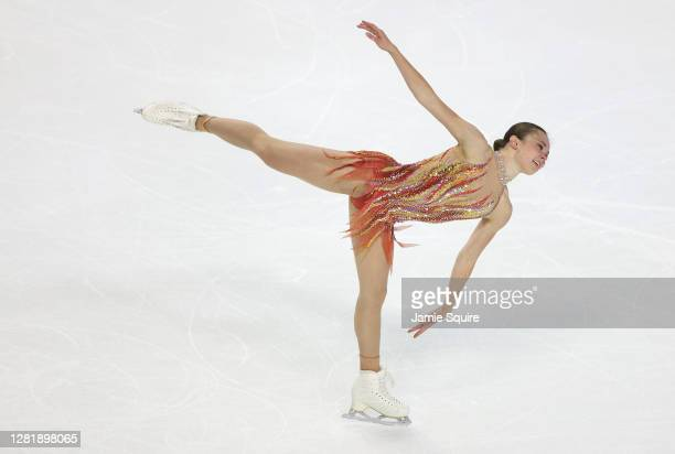Mariah Bell of the USA competes in the Ladies Short Program during the ISU Grand Prix of Figure Skating at the Orleans Arena on October 23, 2020 in...