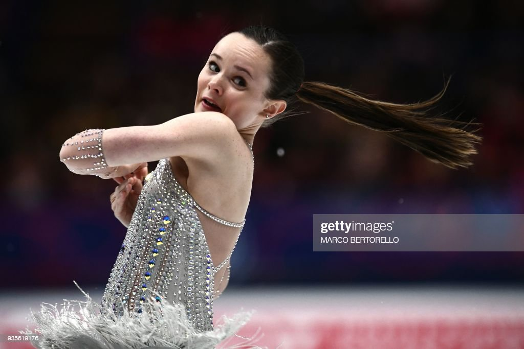 US' Mariah Bell performs on March 21, 2018 in Milan during the Ladies figure skating short program at the Milano World League Figure Championship 2018. /